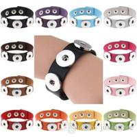 pu armbänder schnappen großhandel-Großhandelsdruckknopf BraceletsBangles 14 Farbe Qualitäts-PU-Leder Armbänder für Frauen 18mm Druckknopf Schmuck