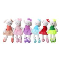 Wholesale rabbit doll wedding resale online - 45CM Rabbit Plush Toys Stuffed Plus Animals Lace skirt inch Cute Lovely dolls bouquet gift toy for children Home wedding interactive