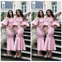Wholesale ladies black white formal wear resale online - 2019 Custom Slim Juliet Sleeves Tea Length Pink Bridesmaid Dresses Lace Appliques Formal Prom Party Gowns Short Maid of Honor Ladies Wear