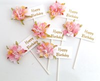 Wholesale cupcake cakes for birthdays resale online - New Arrival Multi color Cupcake Cake Happy Birthday Topper Flowers Cake Flags For Wedding Party Baking Decoration Supplies