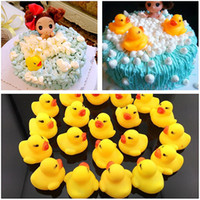 Wholesale children bath toys resale online - Baby Bath Water Duck Toy Sounds Mini Yellow Rubber Ducks Kids Bath Small Duck Toy Children Swiming Beach Gifts OTH872