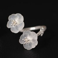 Wholesale Plain Sterling Silver Ring - Flower S925 Sterling silver Natural white crystal The pear flower opens the ring Soak the black Plain silver