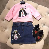 Wholesale grils sets - 2018 grils spring autumn suit Clothes Cartoon A lovely crown dog Kids Clothing Set hoodie+dress Cotton