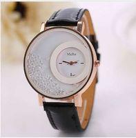 reloj de cuentas de cuarzo al por mayor-Caliente Quicksand Bead Watches Women Fashion Quartz muñeca Ladies Watch Rhinestone PU Leather Women pulsera Relojes Reloj Relogio