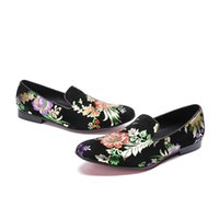 Wholesale flower drive resale online - NEW style flowers print slip on falt dss shoes men fashion office outdoor oxford business casual driving shoes