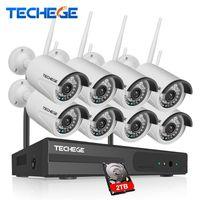 ingrosso cctv plug play-Techege Plug And Play 8CH Wireless 2MP Kit NVR 1080P HD Impermeabile Sistema CCTV esterno Sistema di videosorveglianza Kit di sorveglianza