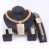 colar contas retângulo venda por atacado-Toda a vendaBridal Presente Casamento Nigeriano Beads Africanos Conjunto de Jóias de Moda Dubai Conjunto de Jóias de Cristal Traje de Design de Retângulo Colar Conjuntos