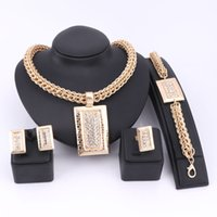 Wholesale African Costume Jewelry Sets - whole saleBridal Gift Nigerian Wedding African Beads Jewelry Set Fashion Dubai Crystal Jewelry Set Costume Design Rectangle Necklace Sets