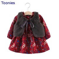 Wholesale Thicker Dress - Princess Baby Girls Suits 2018 Autumn Winter New Cute Girl Suit Thicker Dress + Fur Vests 2 Pcs Child Clothing Sets High Quality