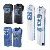 Wholesale Cheap Custom Heels - Cheap custom Michael 23 North Carolina Tar Heels Black White Blue NCAA High-School Basketball jersey Personalized Any number any name XS-5XL