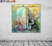 Wholesale canvas musical art resale online - ZYXIAO Big Size Oil Painting Art Musical Instruments sax Home Decor on Canvas Modern Wall Art No Frame Print Poster picture ys0070