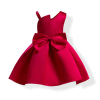 Wholesale Girls Bowknot Red - New bowknot Sling Solid color V-Neck sleeveless Satin Lovely Elegant Party Pageant Princess 3-9T Girl Dresses 1764