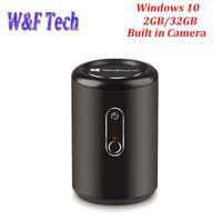 cámara g2 al por mayor-2G 32G G2 Windows 10 TV Box Soporte para PC Mini Bay Trail CR Intel Z3735F Quad Core 2.4G 5.8G WIFI 2.0 MP Camera TV Box con MIC