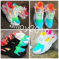 Wholesale rainbow men - 2018 New Air Huarache Ultra Running Shoes Huaraches Rainbow Hurache Breathe Shoes Men Women Huraches Zapatos Trainers Sneakers Size 36-46
