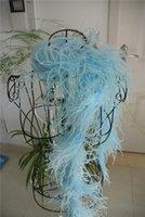 zanaat tüyleri tüyler toptan satış-Ücretsiz kargo işık turkuaz Devekuşu Tüy Boa 5 kat zayıflık için Parti / Kostüm / Şal / Zanaat dansçı dekor tedarik kostüm tedarik