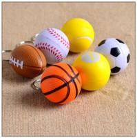 Wholesale handbags charms - PU Squeeze Football Basketball Volleyball Soccer Key Chain Cell Phone Charms Handbag Pendant Keyring Keychain Key Ring CCA9579 500pcs