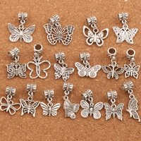 Wholesale mixed Butterfly Dangle Big Hole Beads Tibetan Silve Fit Charm Bracelet Jewelry DIY Hot sell BM57