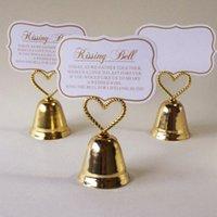 çan kartları toptan satış-Kalp Öpüşme Bell Yer Kart Fotoğraf Tutucu Gelin Düğün Metal Kalp Şekli Favor Şekeri Parti Hediye