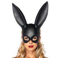 ingrosso costume coniglietto nero della ragazza-Black Women Girl Sexy orecchie da coniglio maschera carino Bunny lungo orecchie Bondage Mask Halloween Masquerade Party Cosplay Puntelli