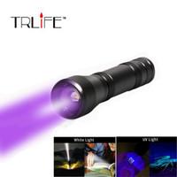 yakınlaştırılabilir beyaz ışık toptan satış-UV Fener 5 modları Zumlanabilir 395nm Ultra Violet Işık 18650 pil tarafından Blacklight CREE XM-L2 / T6 beyaz ışık Torch Işık