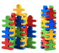 ingrosso giochi di forma del bambino-Giocattolo in legno Jenga a forma di uomo Colorful Balance Building Blocks Puzzle Game Stacking Blocks Set per il bambino Bambini regalo di compleanno