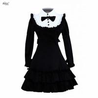 vestido feminino lolita venda por atacado-Lolita clássico dress womens algodão preto mangas compridas plissado clássico princesa vestidos lolita dress trajes cosplay xs-xxl