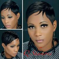 peruklu peruk toptan satış-Pixie Kesim Brezilyalı bakire saç dantel ön peruk kısa bob İnsan saç için tutkalsız tam dantel İnsan saç peruk siyah kadınlar