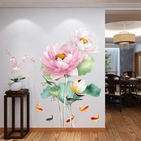 ingrosso poster da fiori 3d-Stile cinese Lotus Flower 3D Wallpaper Wall Stickers Soggiorno Bagno Home Decor Poster Y18102209