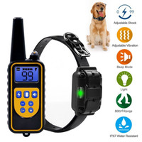 Wholesale two dog shock collar - 800m Dog Shock Collar Rechargeable Waterproof Electric Vibration Remote Control Anti Bark Pet Trainer Tool AAA539