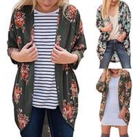 Wholesale Blouse Roses - Women Vintage Rose Floral Loose Shawl Kimono Cardigan Boho Tops Jacket Blouse Floral Printing Long Shirts 10pcs OOA3870