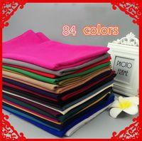 Wholesale Long Summer Scarf - 84 New Chiffon Muslim Headscarf Hui Long Scarf 180 * 75 Muslim Monochrome Chiffon Wholesale High-Grade Scarves
