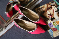 Wholesale wedding shoes ballerina - sale! b050 34 40 genuine leather v stud ballerina flats blue black nude red yellow rose pink luxury designer runway classic fashion women