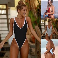 Discount red lace up swimsuit - Lace Up One Piece Swimsuit 2017 Sexy Swimwear Women High Waist Bathing Suit Backless Black Bodysuit feminina biquini