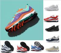 zapatos de hombre 46 al por mayor-2018 Vibrant OG 98 Gundam Cone Men Running Shoes 98s Suela de aire azul marino Fluorescente atlético para mujer zapatillas de deporte Sports Sneakers talla 36-46