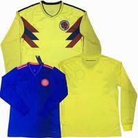 shirts trikot voller ärmel großhandel-Kolumbien 2018 2019 ARIAS BACCA SANCHEZ FALCAO JAMES CUADRADO weg weg lang Hülse Fußball-Trikot 18 19 Fußball volles Hemd S-2XL