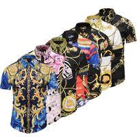 shorts à carreaux de mode hommes achat en gros de-2018 été automne Harajuku Medusa chaîne en or / chien Rose imprimer hommes chemises mode rétro hommes manches courtes tops chemises taille asiatique