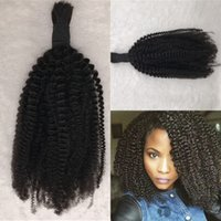 Wholesale human hair kinky curly bulk extensions online - Kinky Curly Bulk Hair Weave Natural Color Brazilian Mongolian Cambodian Human Extensions Large Stock Inch In Stock FDSHINE