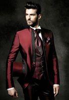 Wholesale shiny tuxedo men for sale - Group buy New Fashion Slim Fit Shiny Burgundy Groom Tuxedos Groomsmen Excellent Man Wedding Wear Men Party Prom Suit Jacket Pants Tie Vest NO