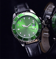 Wholesale Nude Dressed Woman Girl - luxury brand women dress automatic watches Green dial black leather bracelet stainless steel clock ladies designer gifts for girl
