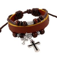 bracelets en cuir religieux achat en gros de-Multicouche Bracelets En Cuir pour Femmes Mens Friend Gift Avec Mood Perlé Wristlet Réglable Chtistian Religieux Croix Charme Bracelet Noir