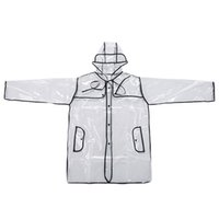 vinil yağmur toptan satış-Yeni Bayan Kızlar Şeffaf Yağmur Ceket PVC Vinil Kapşonlu Pist Stil Temizle Moda Yağmurluk Hediye 1244