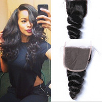 Wholesale 18 human hair colour online - Unprocessed Peruvian Virgin Human Hair Lace Closure x4 Loose Wave inch Free Part Natural Colour Can Be Dyed G EASY