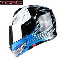 шлем с полным лицом оптовых-Free shipping 1pcs TORC Full Open Face Fashion Silver Lens Modular Moto Helmet Flip Up Dual Visor ABS DOT ECE Motorcycle Helmet