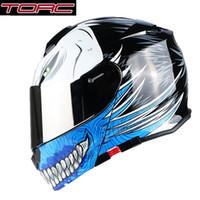 tirón de la cara del casco completo al por mayor-Envío gratis 1 unids TORC Full Open Face Fashion Silver Lens Modular Moto Casco Flip Up Dual Visor ABS DOT ECE casco de la motocicleta