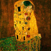 Wholesale Gustav Paintings - Gustav Klimt Kiss Oil Painting Reproduction Art Wall HD print on canvas Modern Contemporary Abstract Art Home Decor gift Bedroom Decor
