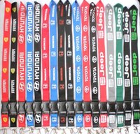 Wholesale voice logos - Wholesale 2018 high quality 100pcs The charisma of a car logo Lanyard Keychain Key Chain ID Badge ipod cell phone holder Neck strap 17color.