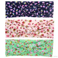 Wholesale infant baby accessories - Baby Floral Headbands Flower Print Bunny Ear Hairband Infant Turban Knot Headwear Kids Hair Accessories for girls KHA545