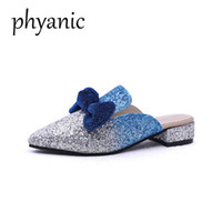 Wholesale women flat bling shoes - Phyanic Drop shipping 2018 new summer bling gitter boetie women mules shoes pointed toe slippers women fashion wedding shoes