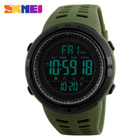 спортивные часы skmei оптовых-SKMEI Green Chronograph Men  Watches Silicone Countdown LED Digital Sport Watch Men Wristwatches saat reloj deportivo