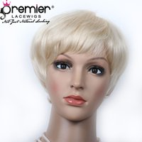 Wholesale machine made virgin wig for sale - Group buy Premier Blonde Color Affordable Machine Made Wigs Brazilian Virgin Human Hair Short Cut For American